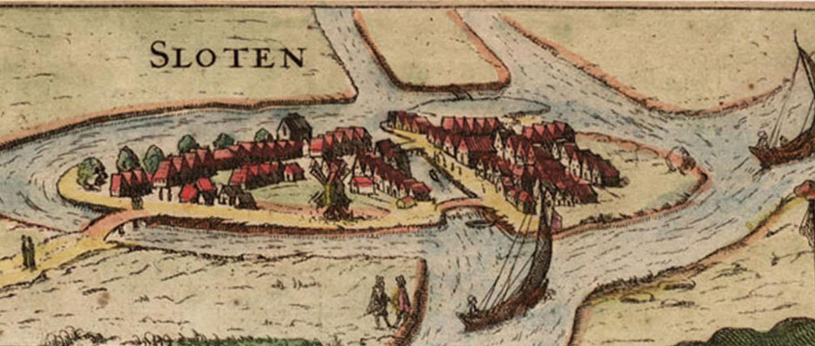 Kaart van historisch Sloten